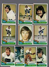 1974 - 75 Topps Hockey Set VANCOUVER CANUKS Card Lot