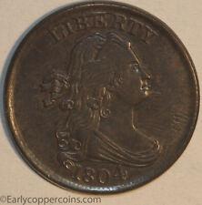 1804 C8 Draped Bust Half Cent SPIKED CHIN Furnace Run AU+ Starts 1C NO RESERVE!
