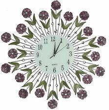 "Lulu Decor, 24"" Flower Burst Wall Clock, White Glass  Arabic Number Dial 8.5"""