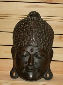 Vintage Asian Hindu folk art hand carving wood wall hanging mask