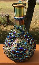 Vintage Purple Carnival Glass Decanter Water Bottle Bunches of Grapes & Leaves