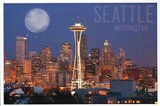 Space Needle and Skyline of Seattle Washington, Full Moon, WA -- Modern Postcard