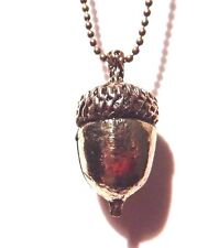 ANTIQUED GOLD ACORN NECKLACE pendant nature brass bronze ball chain oak seed H5