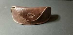 Genuine Fossil Brown Leather Eyeglasses Sunglasses Magnetic Soft Case
