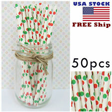 50x Paper Straws Red Green Polka Dot Carnival Christmas Halloween Party Us Stock