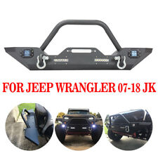 For 07-18 Jeep Wrangler JK Front Bumper Jeep D-rings &Built-in CREE Led Lights D