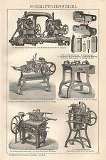 B0392 Schriftgiesserei - Xilografia d'epoca - 1903 Vintage engraving
