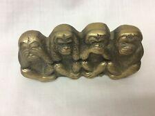 Vintage Brass See No Hear No Speak No Do No Evil Monkeys Paperweight