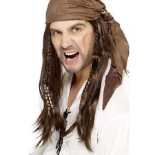 Marrón Largo Piratas Del Caribe Peluca + bandana Disfraz Adulto