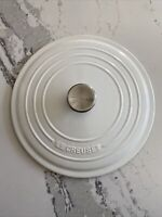 Le Creuset Cast Iron Enamel Lid Only 26 White Round Made in France Metal Handle
