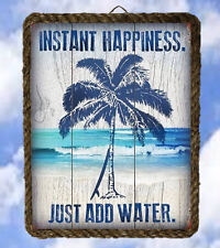 Beach Ocean 473 Palm Tree Island Sea Just add water, Plaques Beach Decor Ventage