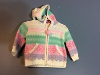 The Kids Source Baby Girls Sweater Size 12 Months Pink Snowflakes Hood 121