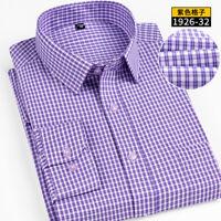 Mens Long Sleeves Dress Shirts Plaids Luxury Slim Business Work Camisas ZC6594