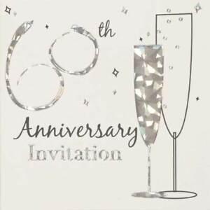 Multi Pack 36 Diamond 60th Wedding Anniversary Party Card Invitation & Envelopes