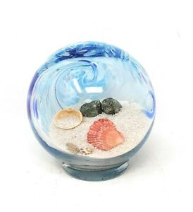 Handblown Glass Beach Globe with Blue Colored Swirls Sand and Shells 5 x 5 BV765