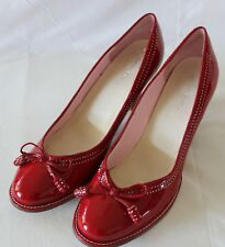 JOANNE MERCER ~ Glossy Red Patent Leather Faux Wood Heel Round Toe Pumps 10