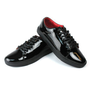 Men's Black Patent Leather Tuxedo Dress Sneakers Red Insole Lace Up Santino 441