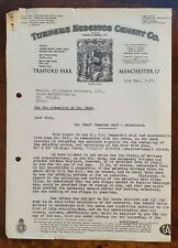 1937 Turners Asbestos Cement Co., Trafford Park, Manchester Letter
