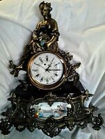 French Provincial Mantle Clock Bronze Maiden Sculpture Hot Cast Figurine 17x14
