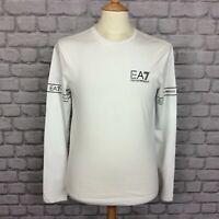 EA7 EMPORIO ARMANI MENS UK S WHITE LONG SLEEVE TAPE T-SHIRT TEE DESIGNER CASUAL