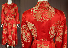 Vintage Eileen Kershaw Chinese Red Silk Gold Dragon Lady Belted Robe Dress Coat