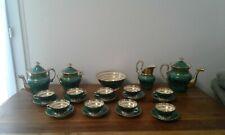 porcelaine de paris-EMPIRE-service a cafe-the-plat-decor vert et or-SUPERBE-