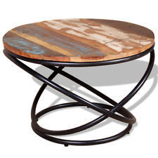 Round Coffee Table Solid Reclaimed Wood Wooden Side Tables Iron Tubes Handmade