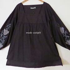 ZEDD..PLUS coole Long Bluse Blusen-Shirt Lagenlook + Stickerei schwarz 50-52 (4)