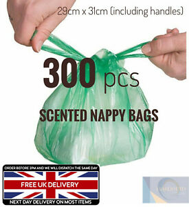 🔥300 Disposable Nappy Bags Fragranced Baby Diaper Hygienic Sacks Tie Handle Bag