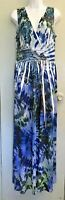 AB Studio Women's Dress Size 12 Blue Sublimation Long Ankle Length Maxi Stretch