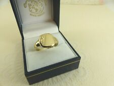 Gents 9ct 9carat Gold Square Patterned Signet Ring  Size U