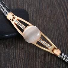 New Gold Plated Leather Austrian Crystal Cat Eye Bangle Bracelet Gift
