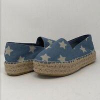 Steve Madden Shoes Slip On Espadrilles Flats Denim Stars Blue White NEW Size 7.5