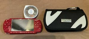 Sony PSP Red God of War Edition w/ Case & Chains of Olympus Game Pre-Owned WORKS