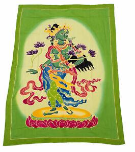 Batik Tara Deity Buddhist Mural Hanging Yoga Buddha 65 3/8x44 1/2in 859