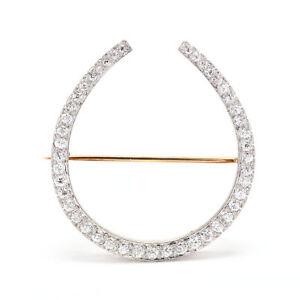 Edwardian Platinum Topped 18KT Yellow Gold Diamond Horseshoe Brooch