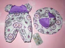 "Handmade Doll Clothes for 12"" - 14"" Baby Dolls - ""Happy Day"" Long Romper & Hat"