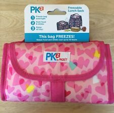 NEW- PK2- FREEZEABLE Lunch Sack/Bag-Pink Heart Pattern-Super Cute & clever-