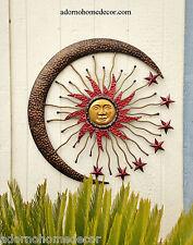 Large Metal Celestial Moon Sun Decor Garden Art Indoor Outdoor Patio Wall Decor