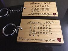 Personalised Real Wood Calendar Keyring love gift Day you became Mum Dad Wife
