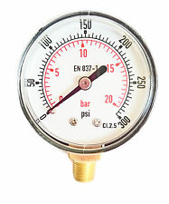 Pressure Gauge 50mm Dial 0/300 PSI & 0/20 Bar 1/8 BSPT Bottom connection.