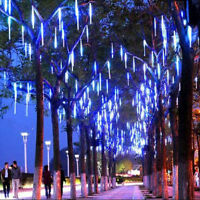 Blue 8 Tubes Meteor Shower Falling Star Rain Drop LED Xmas Tree String Lights