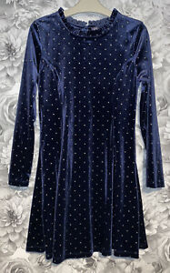 Girls Age 9-10 Years - M&S Long Sleeved Velvet Part Dress -Immaculate Condition