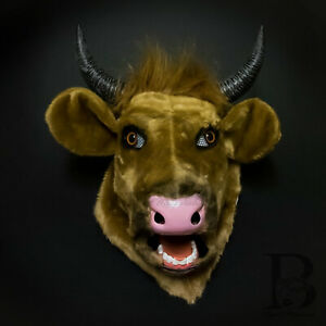 Large Over the Head Brown Cow Steer Moving Mouth Masquerade Mask