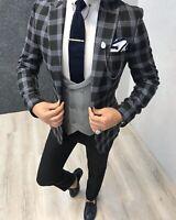 Coat Jacket Pants Vest 3Pieces Men Suits Casual Peak Lapel Slim Fit Tuxedos