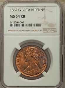 GREAT BRITAIN VICTORIA 1862  PENNY COIN, UNCIRCULATED, CERTIFIED NGC MS64-RB