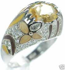 David Sigal Solid 925 Sterling Silver Enamel Floral Citrine Gemstone Ring Sz-10'