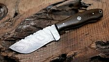 (SSK-97)DAMASCUS STEEL CUSTOM HAND MADE HUNTING KNIFE MICARTA HANDLE.ONTARIO
