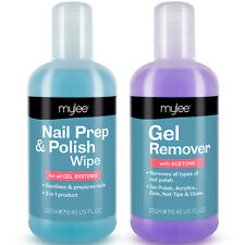 Mylee Nail Gel Polish Prep + And Wipe & Remover UV LED Manicure Acetone 2x250ml