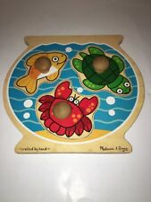 Melissa & Doug Fish Bowl Jumbo Knob 3 Pc Puzzle Wooden For Ages 1+